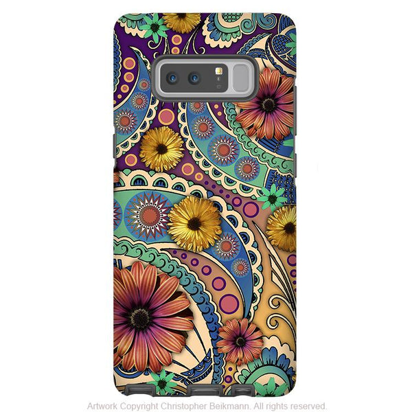 Colorful Paisley Galaxy Note 8 Tough Case - Dual Layer Protection - Daisy Floral Case for Samsung Galaxy Note 8 - Petals and Paisley