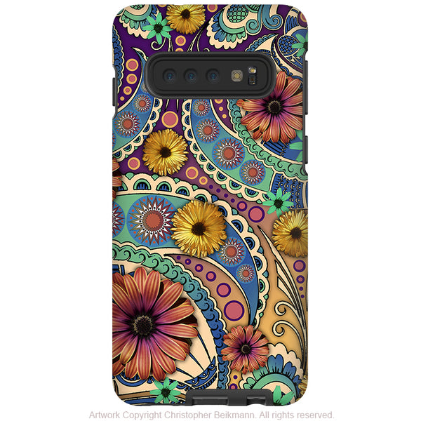 Petals and Paisley - Galaxy S10 / S10 Plus / S10E Tough Case - Dual Layer Protection - Daisy Floral Art Case