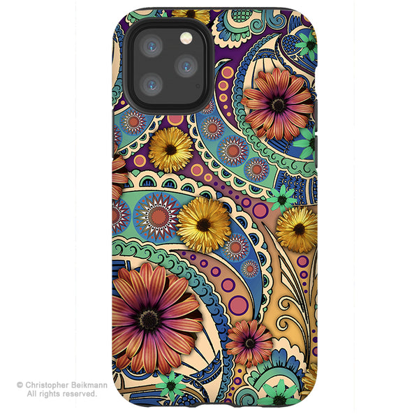 Petals and Paisley - iPhone 11 / 11 Pro / 11 Pro Max Tough Case - Dual Layer Protection for Apple iPhone Colorful Paisley Floral Art Case
