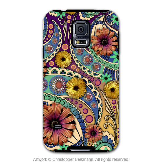 Colorful Paisley Daisy Art - Artistic Samsung Galaxy S5 Tough Case - Dual Layer Protection - Petals and Paisley