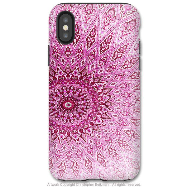 Rose Mandala - iPhone X Tough Case - Dual Layer Protection for Apple iPhone 10 - Pink Mandala Zen Art Case - iPhone X Tough Case - Fusion Idol Arts - New Mexico Artist Christopher Beikmann