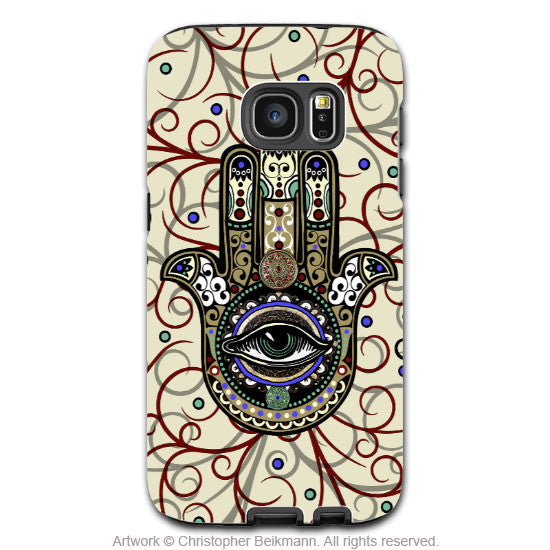 Hamsa Galaxy S7 Case - Sacred Defender - Mystical Proteiction Art Samsung Galaxy S7 Tough Case