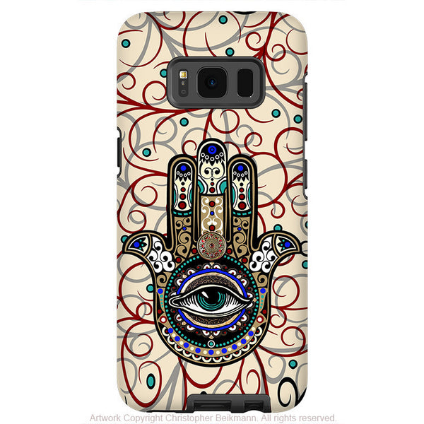 Hamsa Hand Evil Eye - Artistic Samsung Galaxy S8 Tough Case - Dual Layer Protection - sacred defender hamsa - Fusion Idol Arts