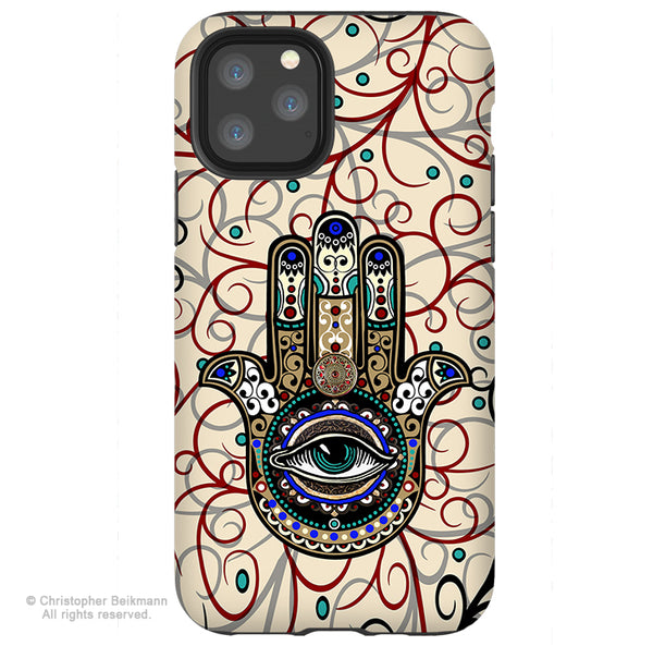 Sacred Defender Hamsa - iPhone 11 / 11 Pro / 11 Pro Max Tough Case - Dual Layer Protection for Apple iPhone XI - Evil Eye Defense Case