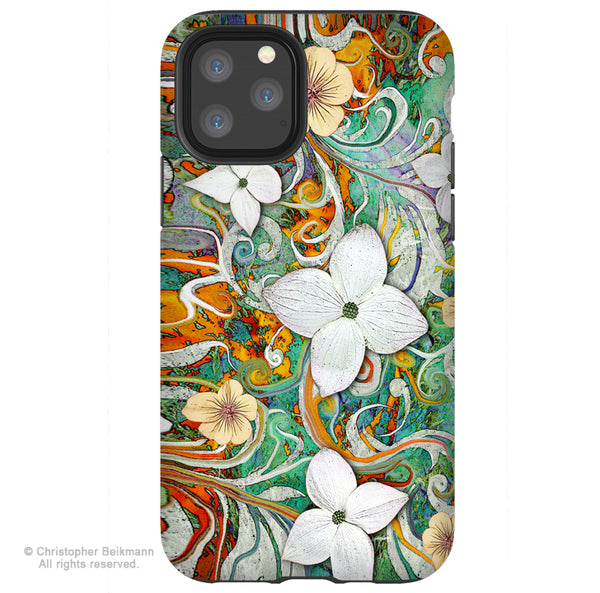 Sangria Flora - iPhone 12 / 12 Pro / 12 Pro Max / 12 Mini Tough Case Tough Case - Dual Layer Protection for Apple iPhone Spring Floral Art Case