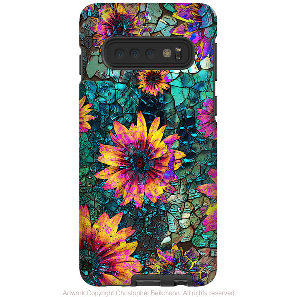 Shattered Beauty - Galaxy S10 / S10 Plus / S10E Tough Case - Dual Layer Protection - Cracked Glass Floral Art Case