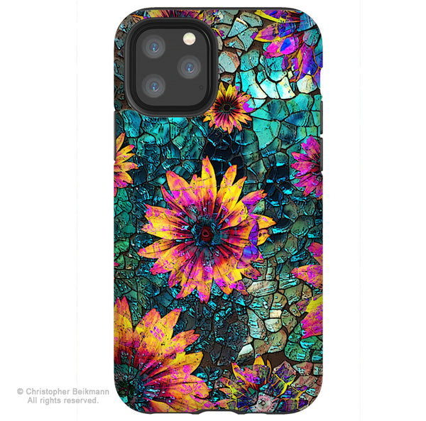 Shattered Beauty - iPhone 12 / 12 Pro / 12 Pro Max / 12 Mini Tough Case Tough Case - Dual Layer Protection for Apple iPhone Teal Floral Art Case