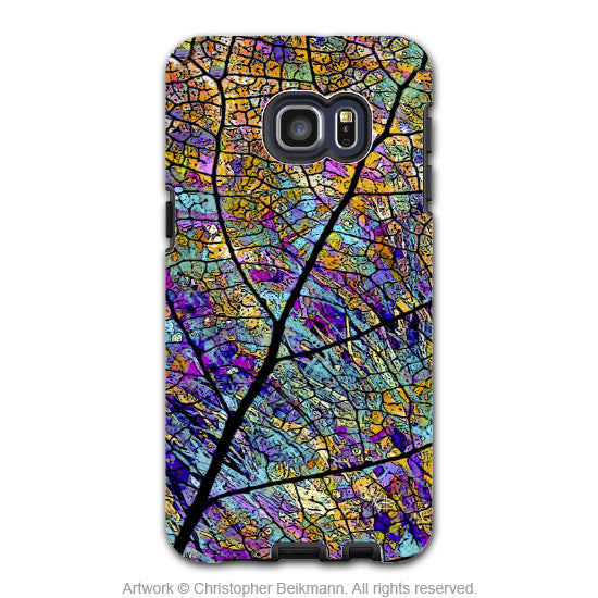 Colorful Aspen Leaf - Artistic Galaxy S6 EDGE+ TOUGH Case - Dual Layer Protection - Stained Aspen