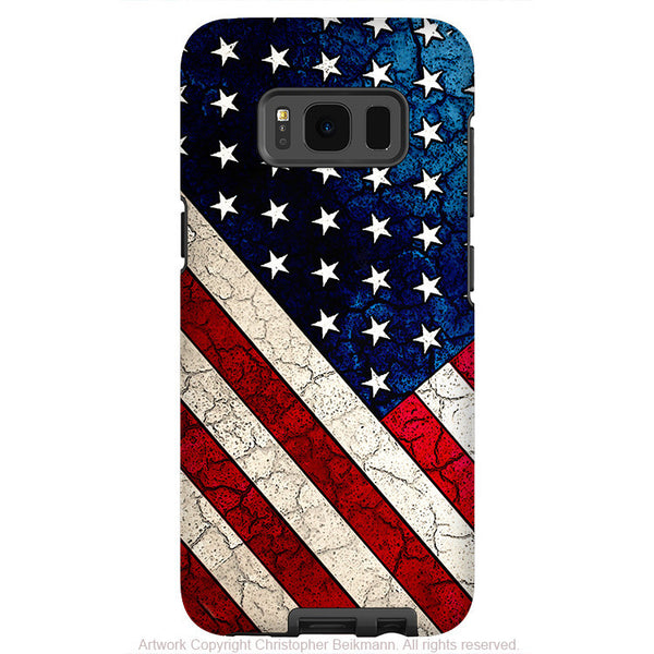 American Flag Galaxy S8 Case - Stars & Stripes - USA Vintage Textured Flag Art S8 Tough Case - Fusion Idol Arts