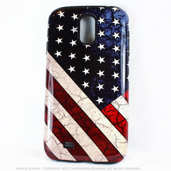 "American Flag Galaxy S4 case - TOUGH Style Protective Case - ""Stars & Stripes"" - Galaxy S4 TOUGH Case - 1"