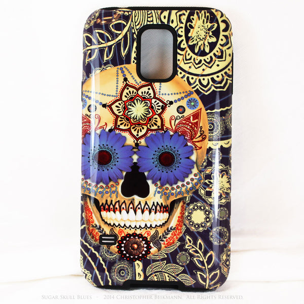 Sugar Skull Blues - Day of The Dead Art Galaxy S5 case - TOUGH style protective case - Galaxy S5 TOUGH Case - 1