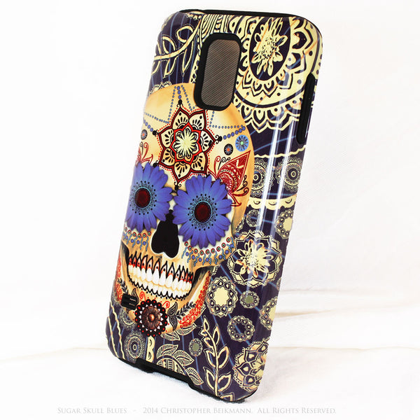 Sugar Skull Blues - Day of The Dead Art Galaxy S5 case - TOUGH style protective case - Galaxy S5 TOUGH Case - 2