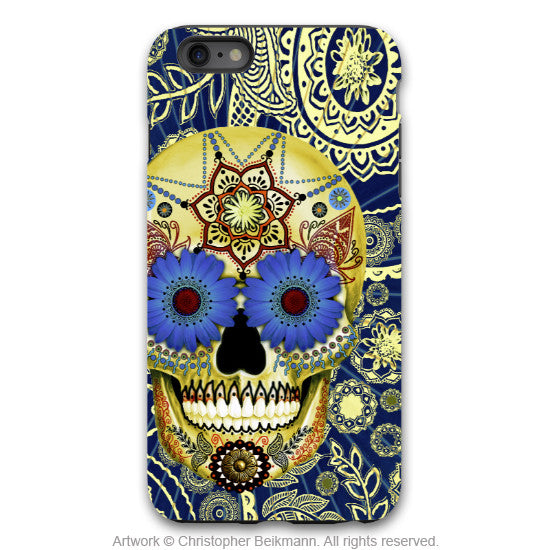 Blue Skull iPhone 6 6s Plus Case - Sugar Skull Blues - Dia De Los Muertos Case for iPhone 6 6s Plus - iPhone 6 6s Plus Tough Case - 1