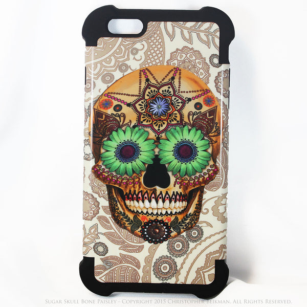 Sugar Skull Bone Paisley - iPhone 6 Plus - 6s Plus SUPER BUMPER Case - iPhone 6 Plus SUPER BUMPER - 1