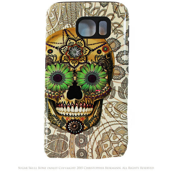 Sugar Skull Bone Paisley Galaxy S6 Case - Day of The Dead S6 Tough Case - Galaxy S6 TOUGH Case - 1