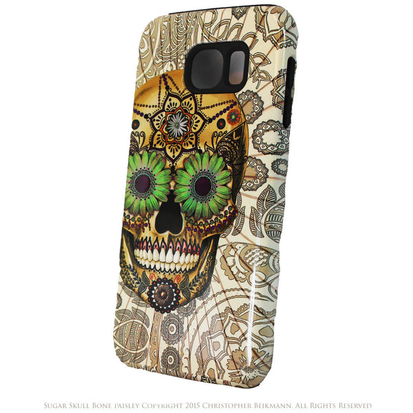 Sugar Skull Bone Paisley Galaxy S6 Case - Day of The Dead S6 Tough Case - Galaxy S6 TOUGH Case - 2