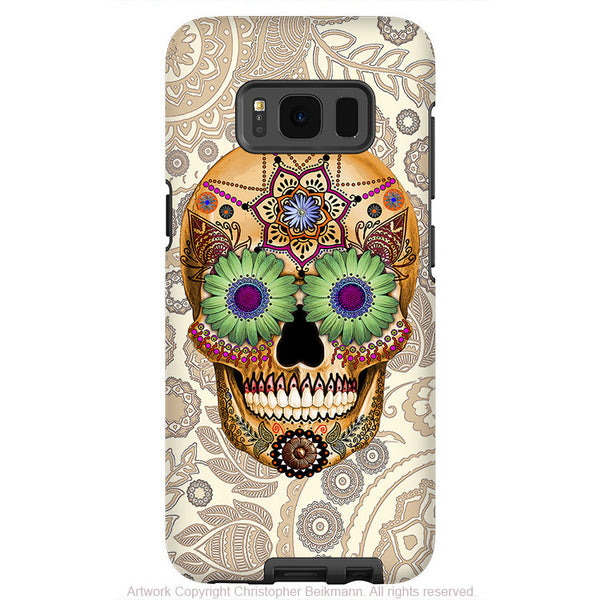 Paisley Sugar Skull - Artistic Samsung Galaxy S8 Tough Case - Dual Layer Protection - sugar skull bone paisley - Fusion Idol Arts