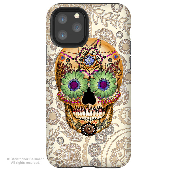 Sugar Skull Bone Paisley - iPhone  Tough Case - 12 / 12 Pro / 12 Pro Max / 12 Mini Tough Case Dual Layer Protection for Apple iPhone XI - Paisley Sugar Skull Case