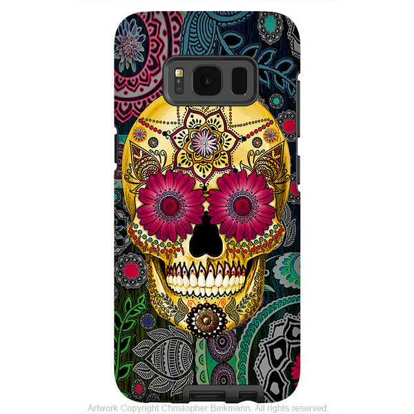 Colorful Paisley Sugar Skull - Artistic Samsung Galaxy S8 Tough Case - Dual Layer Protection - sugar skull paisley garden - Fusion Idol Arts