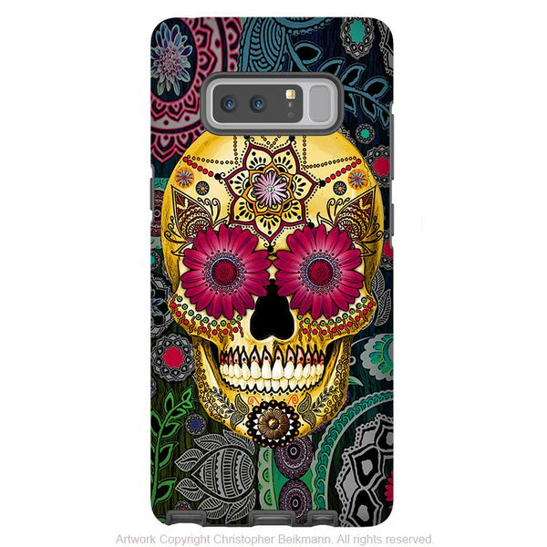 Colorful Sugar Skull Galaxy Note 8 Case - Astrologiskull - Day of The Dead Galaxy Note 8 Tough Case - Sugar Skull Paisley Garden