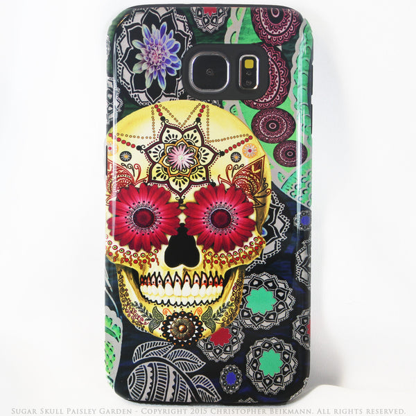 Colorful Sugar Skull Galaxy S6 Case - Day of The Dead Art - Sugar Skull Paisley Garden S6 Tough Case - Galaxy S6 TOUGH Case - 1