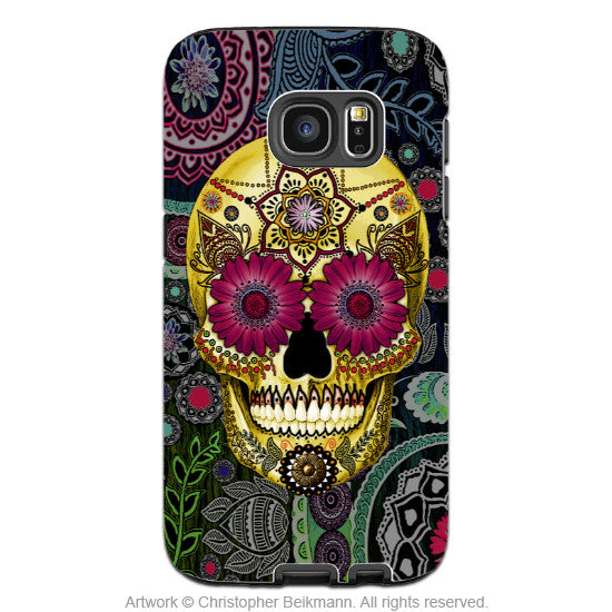 Colorful Sugar Skull Galaxy S7 Case - Sugar Skull Paisley Garden - Floral Sugar Skull S7 Tough Case - Galaxy S7 TOUGH Case - 1