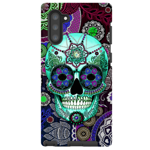 Purple Sugar Skull - Galaxy Note 10 / Note 10 PLUS Tough Case - Dual Layer Protection - Sombrero Night