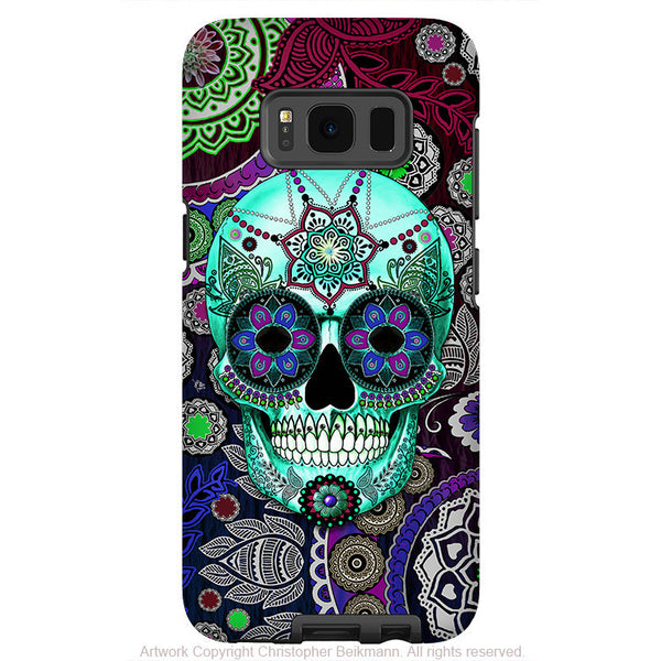 Purple Paisley Sugar Skull - Artistic Samsung Galaxy S8 Tough Case - Dual Layer Protection - sugar skull sombrero night - Fusion Idol Arts