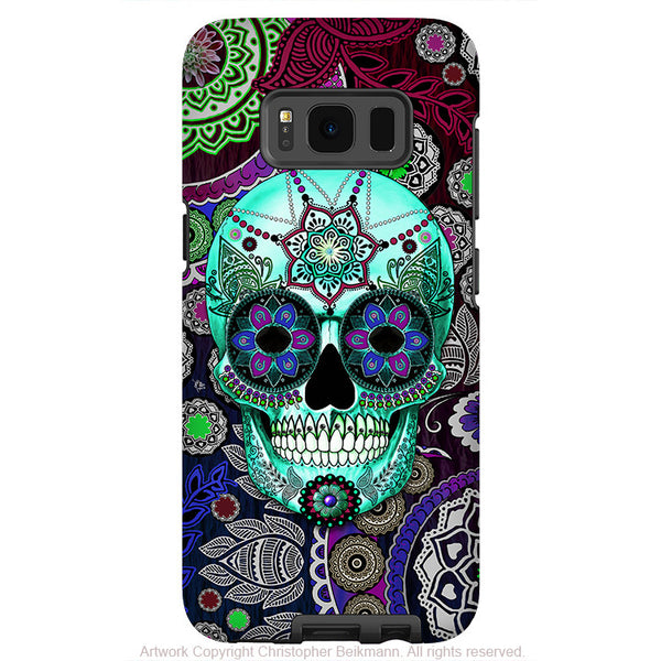 Purple Paisley Sugar Skull Galaxy S8 PLUS Case - Dia De Los Muertos Art by Christopher Beikmann