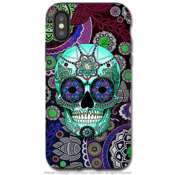 Sugar Skull Sombrero Night - iPhone X Tough Case - Dual Layer Protection for Apple iPhone 10 - Purple Day of the Dead Art Case - iPhone X Tough Case - Fusion Idol Arts - New Mexico Artist Christopher Beikmann