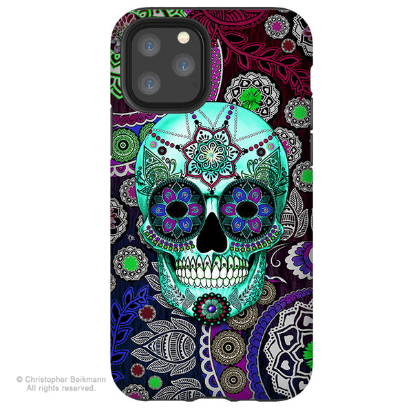 Sugar Skull Sombrero Night - iPhone  Tough Case - 12 / 12 Pro / 12 Pro Max / 12 Mini Tough Case Dual Layer Protection for Apple iPhone 12 - Purple Paisley Sugar Skull Case