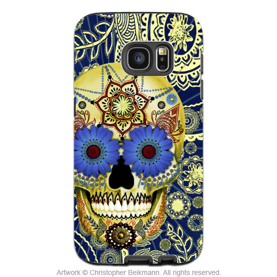 Blue Sugar Skull Galaxy S7 EDGE Case - Sugar Skull Blues - Paisley Sugar Skull Galaxy S7 EDGE Tough Case - Galaxy S7 EDGE TOUGH Case - 1