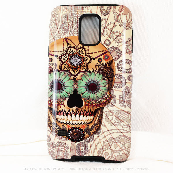 Sugar Skull - Bone Paisley - Day of The Dead Art Galaxy S5 case - TOUGH style protective case - Galaxy S5 TOUGH Case - 1