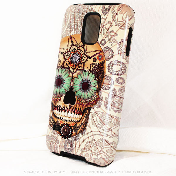 Sugar Skull - Bone Paisley - Day of The Dead Art Galaxy S5 case - TOUGH style protective case - Galaxy S5 TOUGH Case - 2