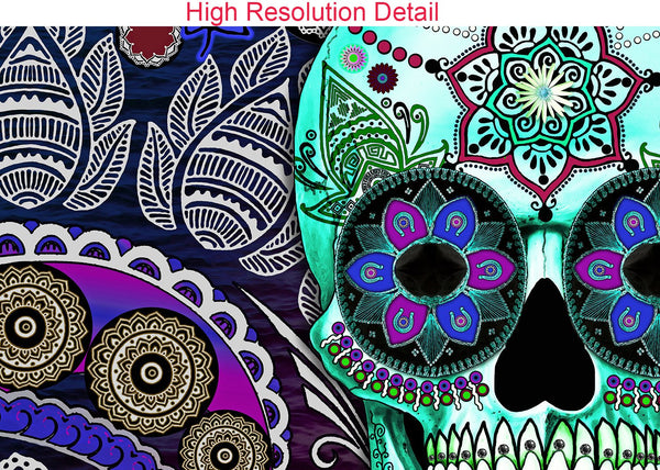 Purple Paisley Day of the Dead Canvas Prints - Sugar Skull Sombrero Night - Premium Canvas Gallery Wrap - Fusion Idol Arts - New Mexico Artist Christopher Beikmann