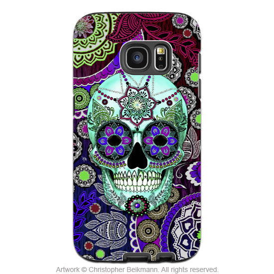 Purple Sugar Skull Galaxy S7 EDGE Case - Sugar Skull Sombrero Night - Paisley Sugar Skull Galaxy S7 EDGE Tough Case - Galaxy S7 EDGE TOUGH Case - 1