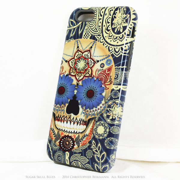 Blue Skull iPhone 6 6s Plus Case - Sugar Skull Blues - Dia De Los Muertos Case for iPhone 6 6s Plus - iPhone 6 6s Plus Tough Case - 2