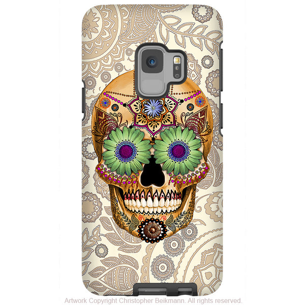 Bone Paisley Sugar Skull - Galaxy S9 / S9 Plus / Note 9 Tough Case - Dual Layer Protection