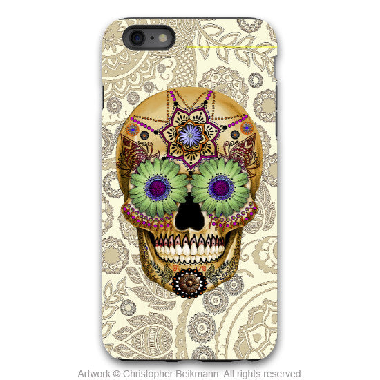 iPhone 6 6s Plus TOUGH Case - Sugar Skull Bone Paisley - Dia De Los Muertos - Artistic Case for iPhone 6 6s Plus - iPhone 6 6s Plus Tough Case - 1