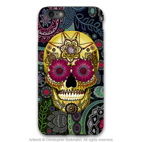 iPhone 6 6s Plus TOUGH Case -Colorful - Sugar Skull Paisley Garden - Dia De Los Muertos - Artistic Case for iPhone 6 6s Plus - iPhone 6 6s Plus Tough Case - 1