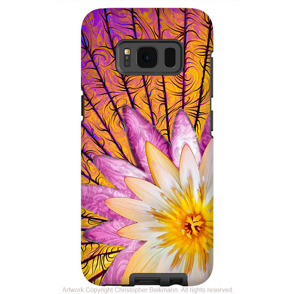 Orange Lotus Blossom - Artistic Samsung Galaxy S8 Tough Case - Dual Layer Protection - sun bloom - Fusion Idol Arts