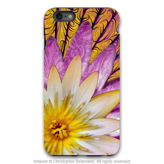 Orange Lotus Blossom iPhone 6 6s Plus TOUGH Case - Sun Bloom - Lotus Flower Art -  Floral Case for iPhone 6 6s Plus - iPhone 6 6s Plus Tough Case - 1