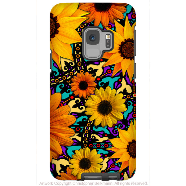 Sunflower Talavera Floral - Galaxy S9 / S9 Plus / Note 9 Tough Case - Dual Layer Protection for Samsung S9 - Paisley Art Case