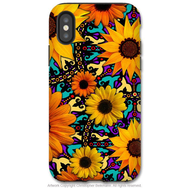 Sunflower Talavera - iPhone X Tough Case - Dual Layer Protection for Apple iPhone 10 - Orange and Teal Floral Art Case - iPhone X Tough Case - Fusion Idol Arts - New Mexico Artist Christopher Beikmann