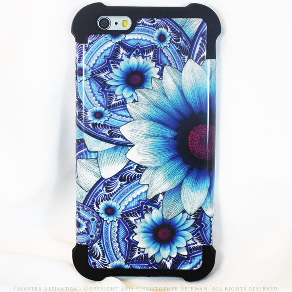 Blue Floral iPhone 6 Plus Case - Talavera Alejandra - iPhone 6 Plus and 6s Plus SUPER BUMPER Case - iPhone 6 Plus SUPER BUMPER - 1