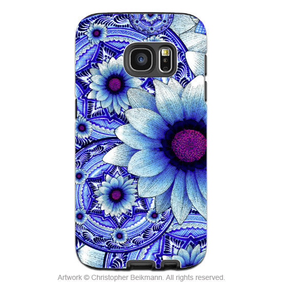Blue Floral Galaxy S7 EDGE Case - Talavera Alejandra - Artistic Floral Boho Samsung Galaxy S7 EDGE Tough Case - Galaxy S7 EDGE TOUGH Case - 1