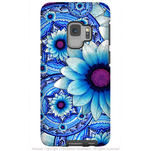 Blue Talavera Floral - Galaxy S9 / S9 Plus / Note 9 Tough Case - Dual Layer Protection for Samsung S9 - Paisley Art Case