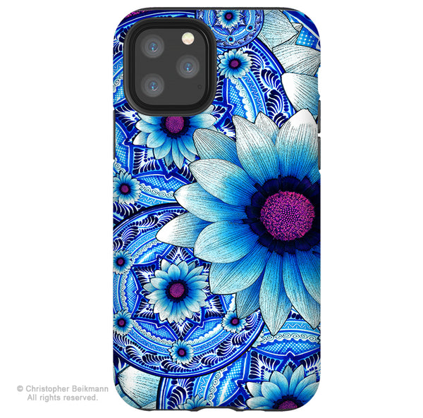 Talavera Alejandra - iPhone 11 / 11 Pro / 11 Pro Max Tough Case - Dual Layer Protection for Apple iPhone XI - Blue Mexican Floral Art Case