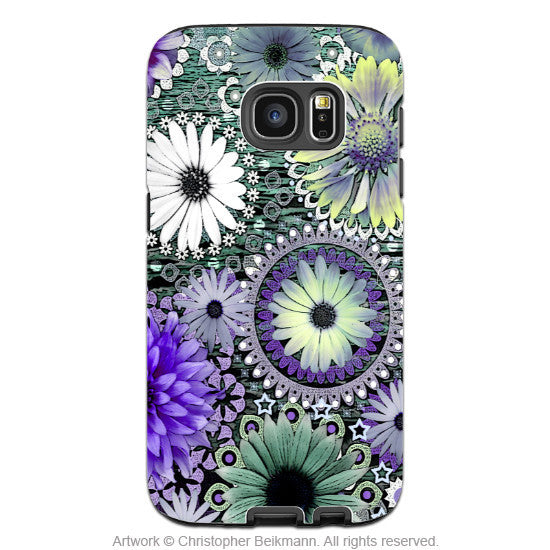 Floral Galaxy S7 EDGE Case - Artistic Green and Purple Daisy Samsung Galaxy S7 EDGE Tough Case - Tidal Bloom - Galaxy S7 EDGE TOUGH Case - 1