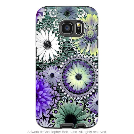 Floral Galaxy S7 Case - Artistic Green and Purple Daisy Samsung Galaxy S7 Tough Case - Tidal Bloom - Galaxy S7 TOUGH Case - 1